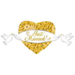 Just Married Herz gold mit Schleife